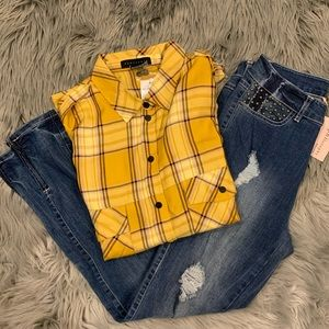 Sanctuary Boyfriend Plaid Snap Front Shirt